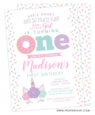 Donuts & Unicorns<br>First Birthday