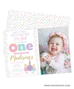Donut & Unicorn First Birthday Invitation with Photo