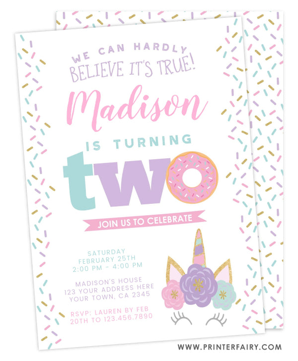 Donut & Unicorn Second Birthday Invitation