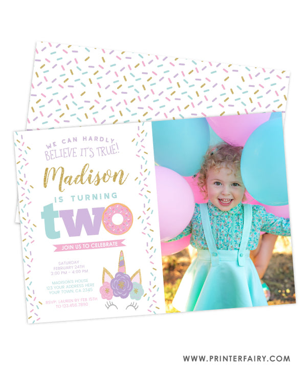 Donut & Unicorn Second Birthday Invitation with Photo