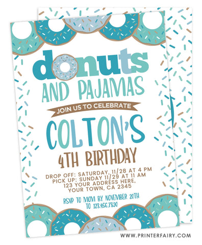 Donuts and Pajamas Birthday<br>teal & white