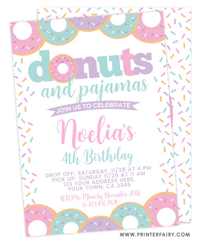 Donuts and Pajamas Birthday Invitation
