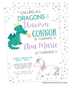 Dragon & Unicorn Birthday Party Invitation