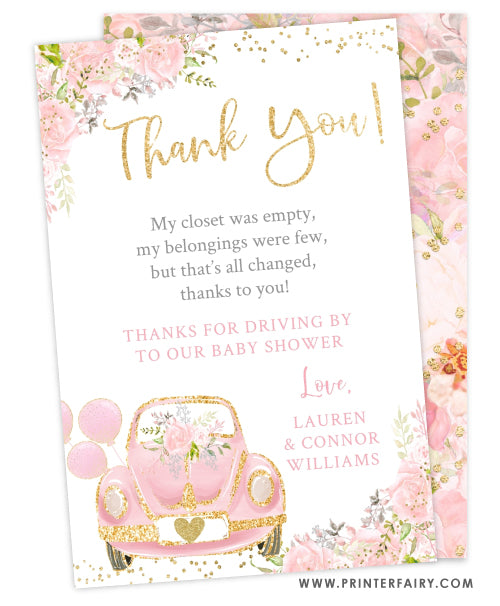 Drive By Baby Shower Parade Thank You Card