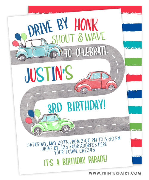 Drive By Birthday Invitation