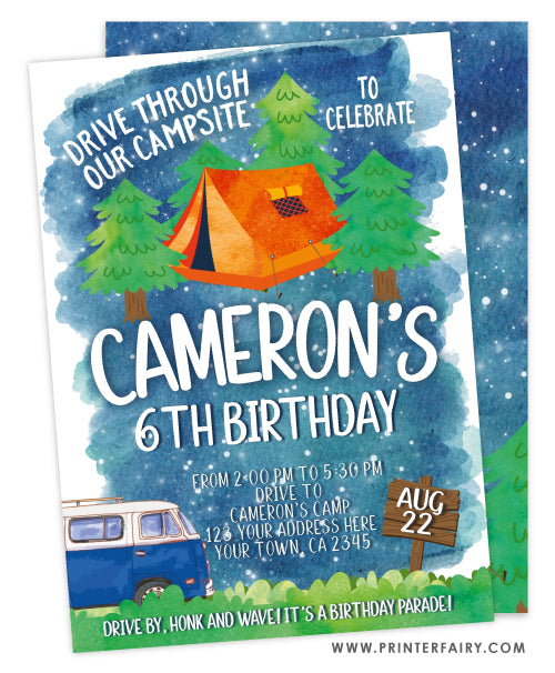 Drive By Camping Birthday Invitation