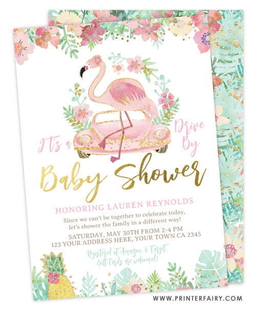Drive By Flamingle Baby Shower Invitation
