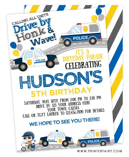 Drive By Police Birthday Parade Invitation