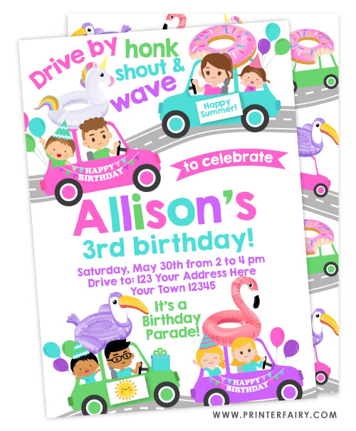 Drive By - Pool Party Birthday Parade Party Invitation