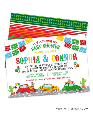 Drive By Fiesta Baby Shower Invitation