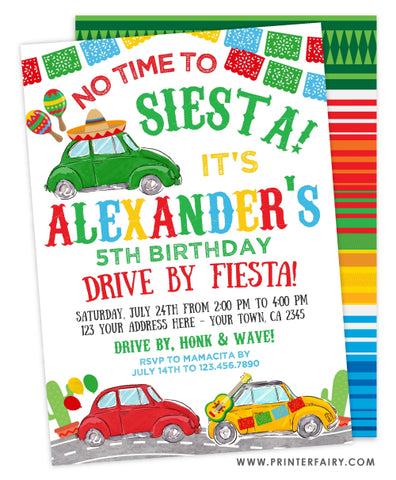 Drive By Fiesta Birthday Invitation
