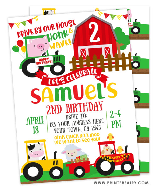 Drive In Farm Birthday Party Invitation
