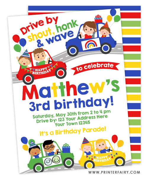 Drive Through Birthday Parade Party Invitation (red)