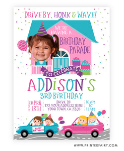 Drive-Thru Birthday Parade Invitation with Photo