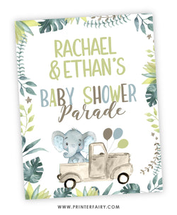 Elephant Baby Shower Parade Sign