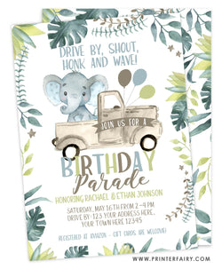 Elephant Birthday Parade Invitation