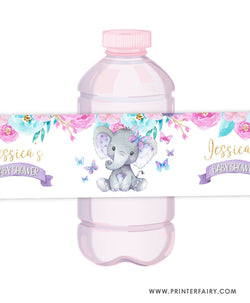 Elephant Floral Baby Shower Water Bottle Label