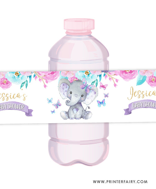 Elephant Floral Water Bottle Label