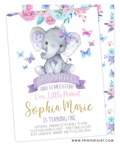 Elephant Floral Birthday Invitation