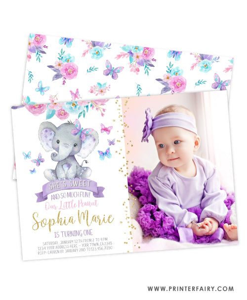 Elephant Floral Birthday Invitation with Photo