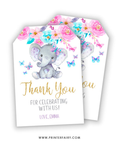 Elephant Floral Favor Tag