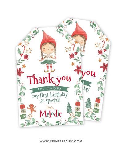 Elf Christmas Birthday Favor Tag