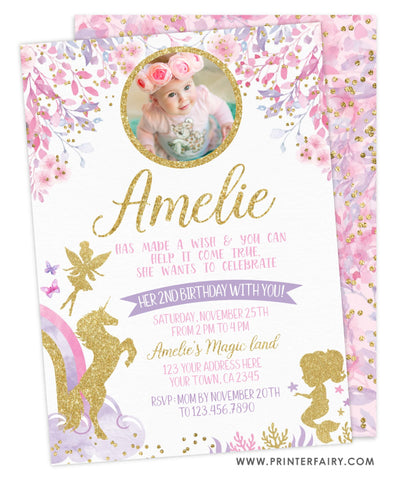 Fairies, Unicorn & Mermaid Birthday Party Invitation with Photo