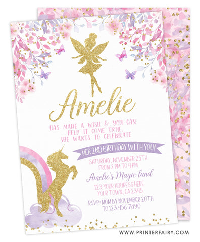 Fairy & Unicorn Birthday Party Invitation