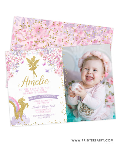 Fairy & Unicorn Birthday Party Invitation with Photo