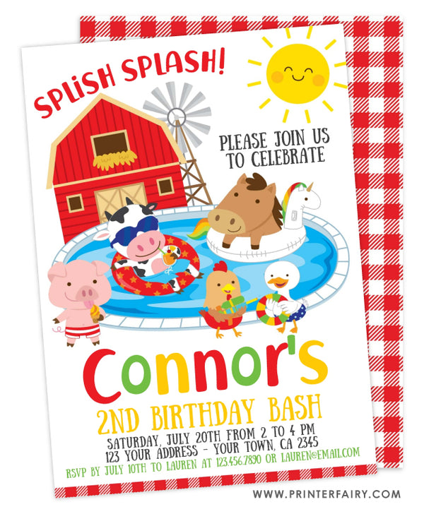Farm Pool Party Birthday Invitation