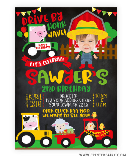 Farm Drive-Thru Birthday Parade Invitation with Photo