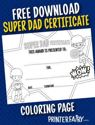 Father's Day Super Dad Certificate - Coloring Page