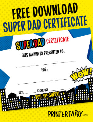 Father's Day Super Dad Certificate
