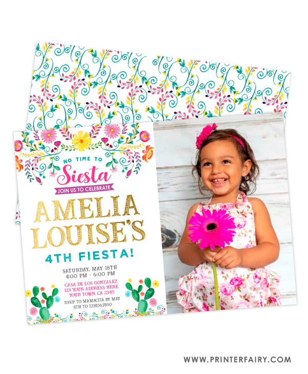 Fiesta Floral Birthday Invitation with Photo