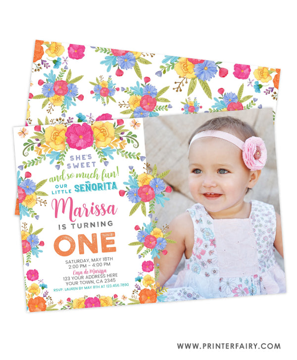 Fiesta Floral First Birthday Invitation with Photo