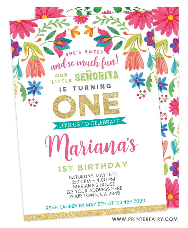 Fiesta Floral First Birthday Invitation