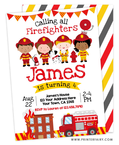 Firefighters Birthday Invitation (white)
