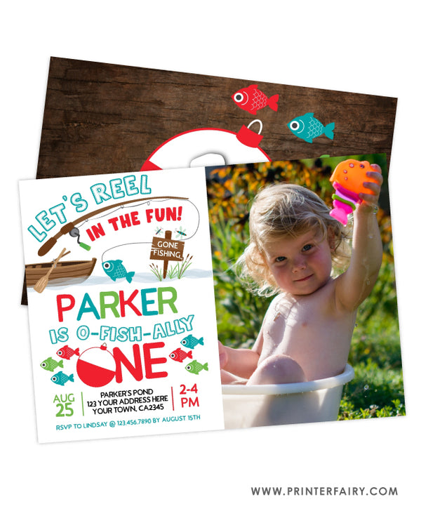 Fishing First Birthday Invitation with Photo