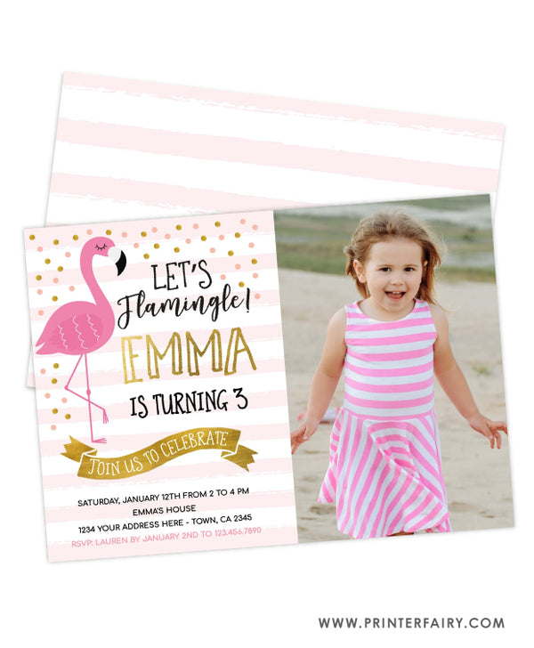 Flamingo Party Birthday Invitation with Photo