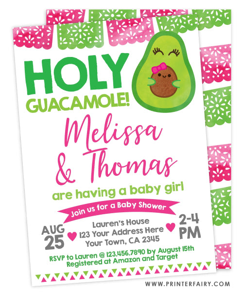 Guacamole Baby Shower Invitation