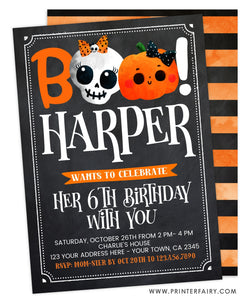 Halloween BOO Birthday Invitation