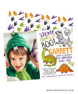 Dinosaurs Halloween Invitation with Photo