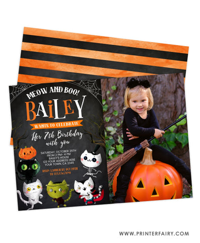 Halloween Kitties Birthday Invitation with Photo