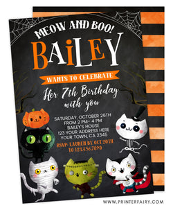 Halloween Kitties Birthday Invitation