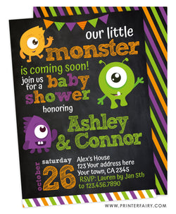 Halloween Little Monster Baby Shower Invitation