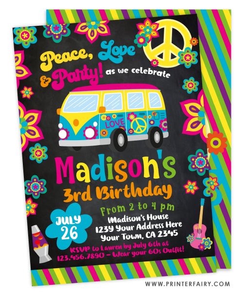 Hippie Birthday Invitation