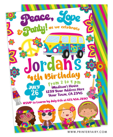 Hippies Birthday Invitation
