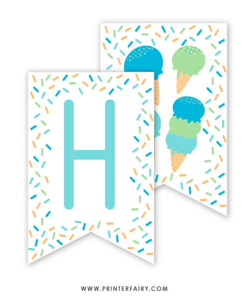 Ice Cream Birthday Banner