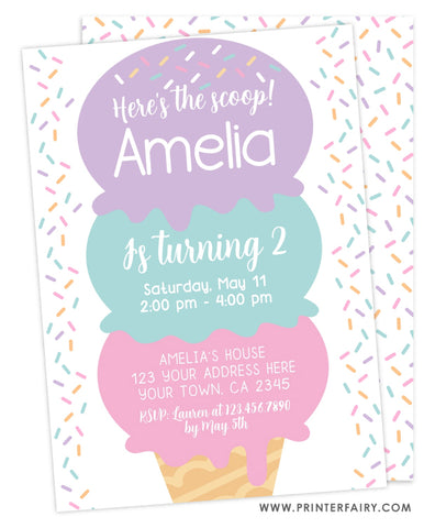 Ice Cream Birthday Party Invitation