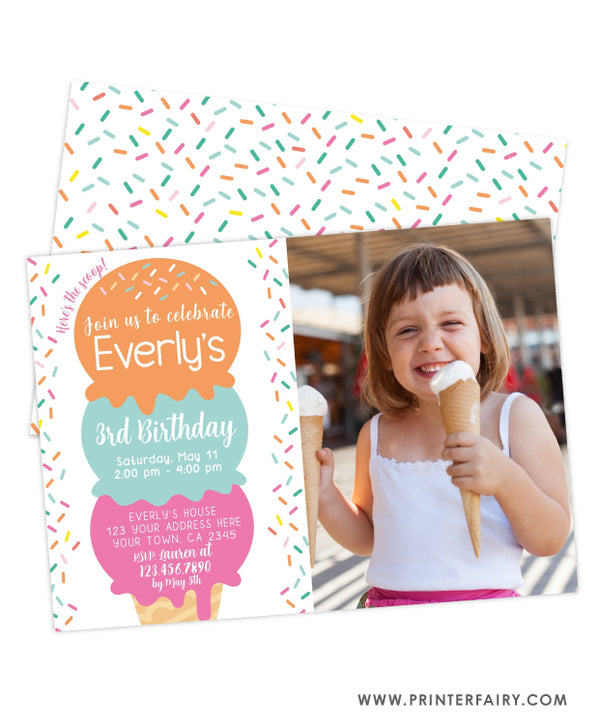 Ice Cream Birthday Party Invitation with Photo